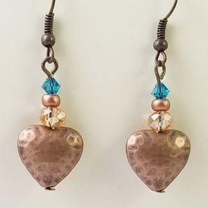 Jewelry - Turquoise Blue~Copper Hearts~Crystal~Earrings